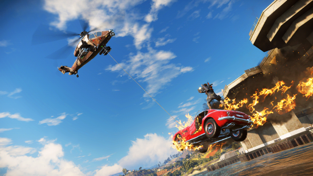 Just Cause 3 flaming car